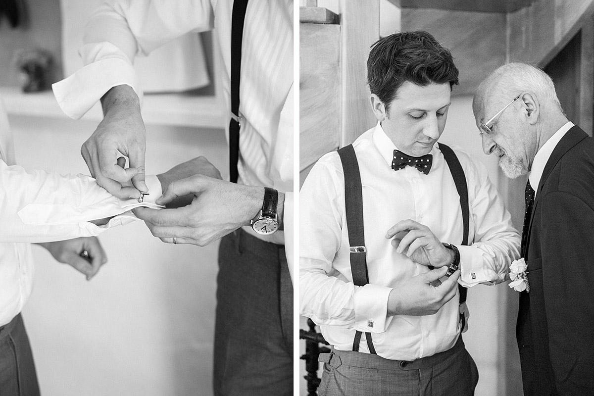Hochzeitsreportage-Foto von Bräutigam bei Ankleiden bei Vintage ...