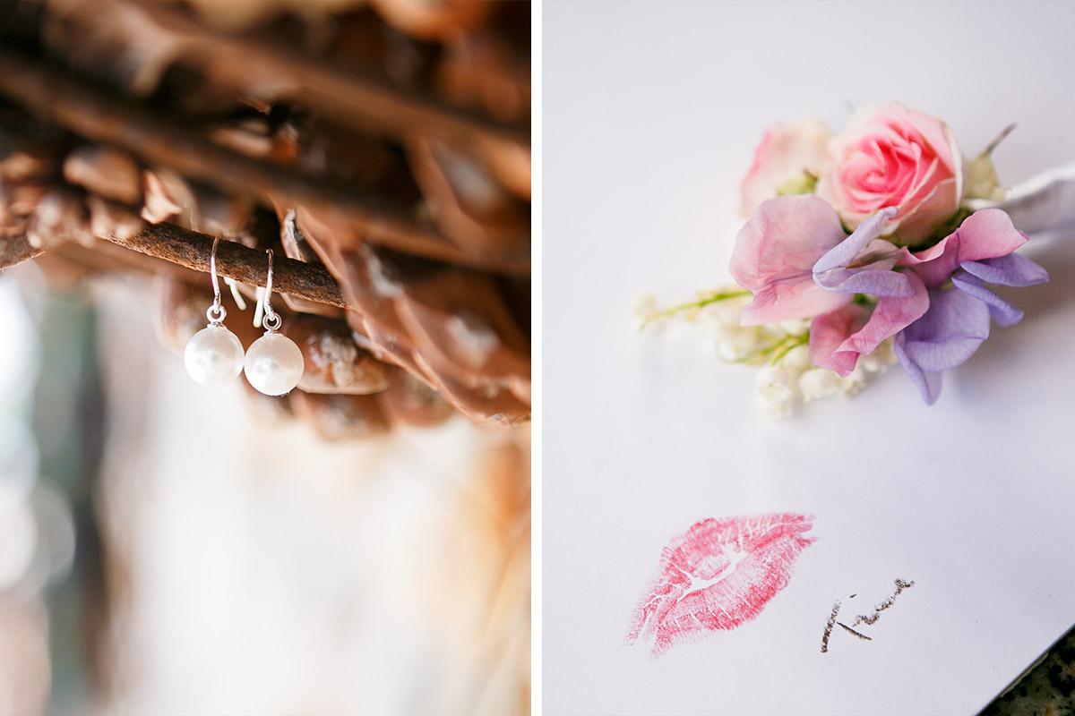 Hochzeitsfotos Von Brautohrringen Und Detailsfoto Hochzeitsblumen