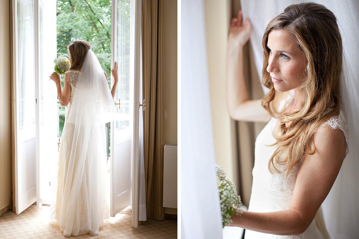Hochzeitsfotos Der Braut Bei Hochzeit Im Vintage Look Auf Schloss