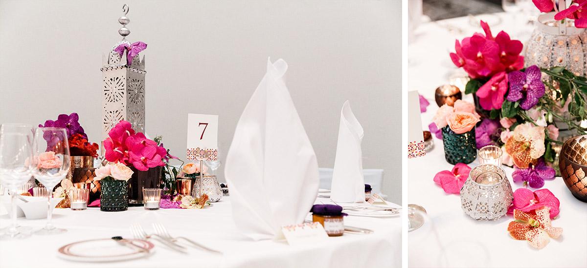 Detailfotos Tischdekoration mit Orchideen bei eleganter Berlinhochzeit - Hotel de Rome Berlin Hochzeitsfotograf © www.hochzeitslicht.de
