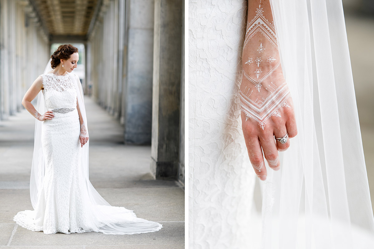 verträumtes Hochzeitsportrait der Braut und Detailfoto Handschmuck - Hotel de Rome Berlin Hochzeitsfotograf © www.hochzeitslicht.de