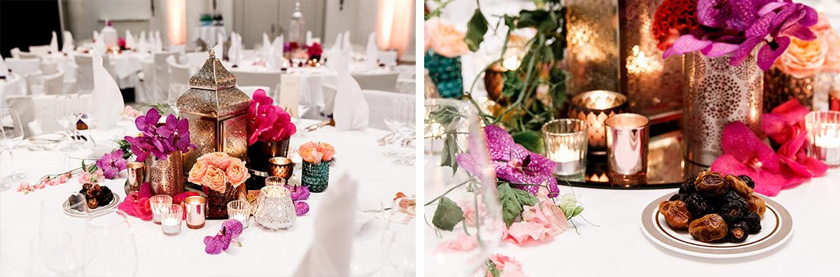 orientalische Tischdekoration bei internationaler Hochzeit Berlin - Hotel de Rome Berlin Hochzeitsfotograf © www.hochzeitslicht.de