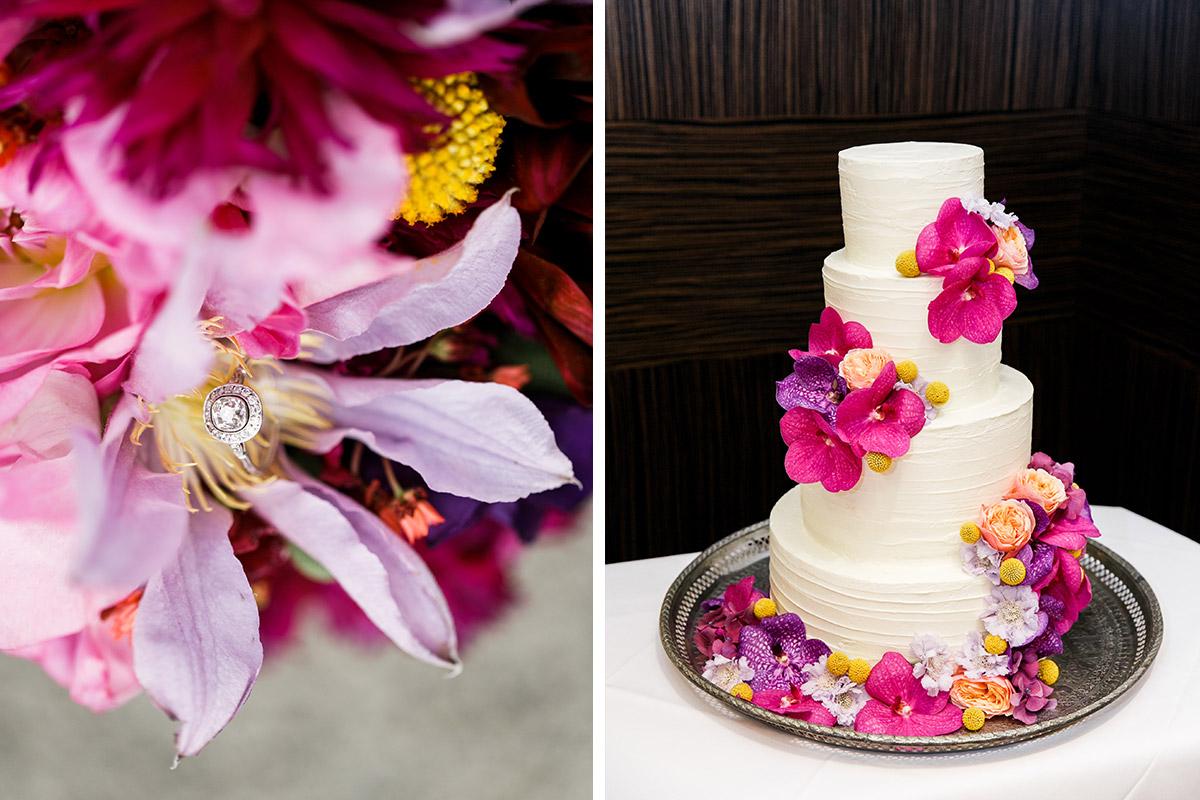 vierstöckige Hochzeitstorte mit Blumendekoration - Hotel de Rome Berlin Hochzeitsfotograf © www.hochzeitslicht.de