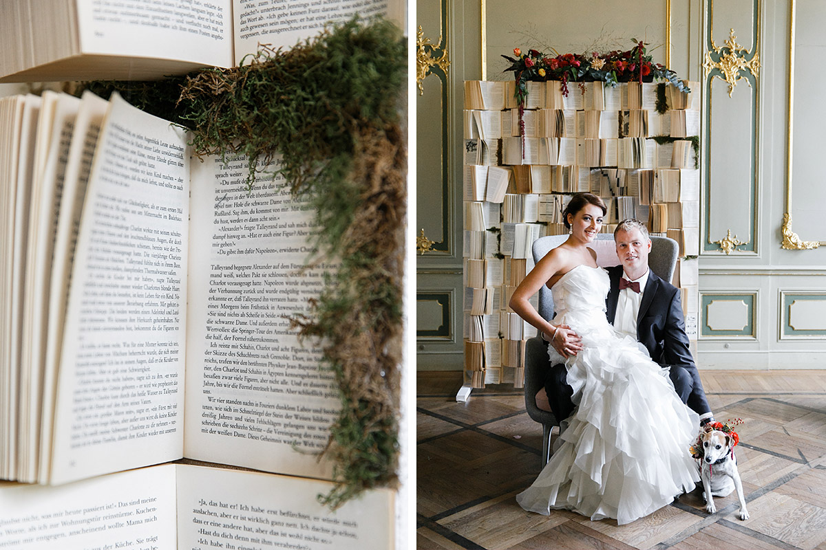 Hochzeitsfoto von Brautpaar mit Familienhund und Detailfoto von DIY-Buch-Backdrop aufgenommen von Hochzeitsfotograf im Ermelerhaus Berlin-Mitte © Hochzeit Berlin www.hochzeitslicht.de