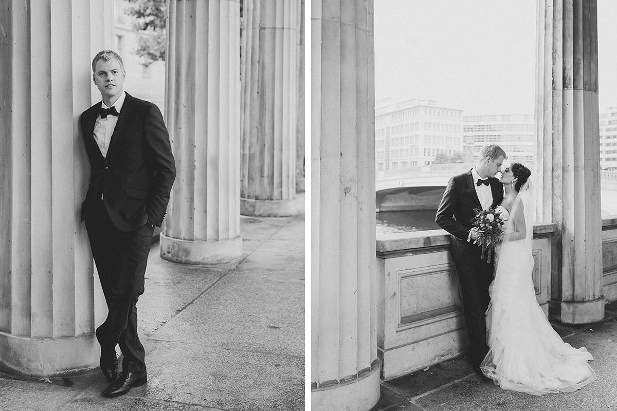 Hochzeitsfotografien von Bräutigam und Brautpaar nach freier Trauung im Ermelerhaus in Berlin-Mitte © Hochzeit Berlin www.hochzeitslicht.de