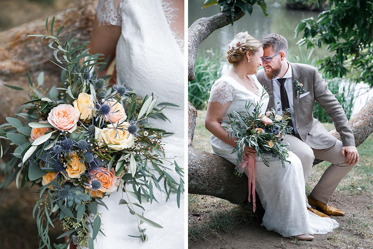 Hochzeitsfoto Von Brautpaar Und Detailfoto Von Herbstlichem