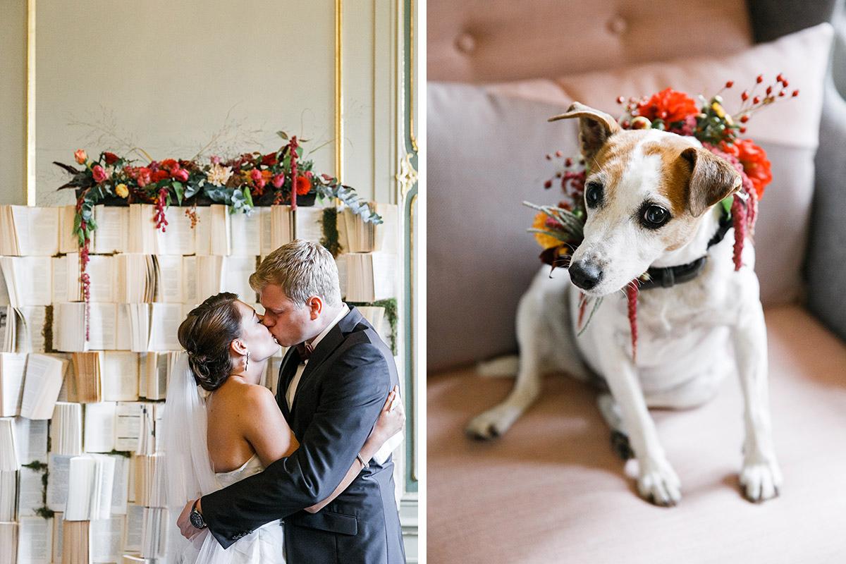 Hochzeitsfoto von küssendem Brautpaar und Familienhund mit Blumenkranz bei Berlin-Mitte Hochzeit im historischen Ermelerhaus © Hochzeit Berlin www.hochzeitslicht.de