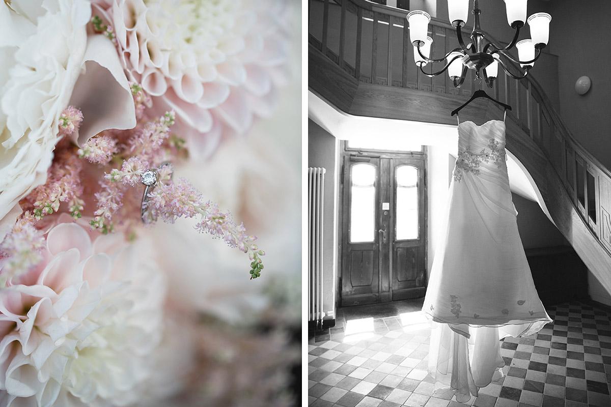 Hochzeitsfotografien von Brautkleid und Detailfoto von Ring auf Brautstrauß in Pastelltönen bei Gut Suckow Hochzeit Brandenburg © Hochzeitsfotograf Berlin www.hochzeitslicht.de