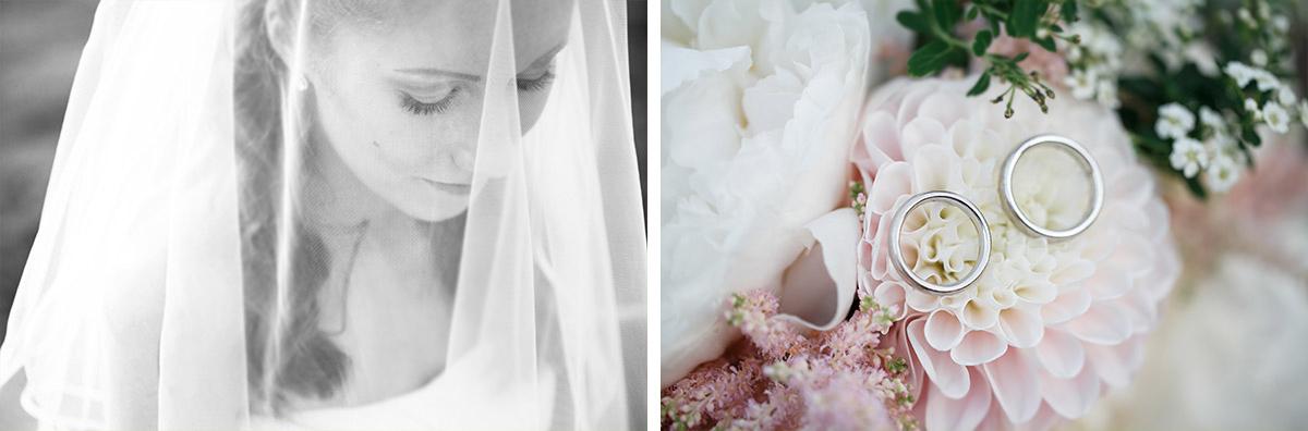 Hochzeitsfoto von Braut mit Schleier und Detailfoto der Eheringe auf Brautstrauß in Pastelltönen bei Gut Suckow Hochzeit © Hochzeitsfotograf Berlin www.hochzeitslicht.de