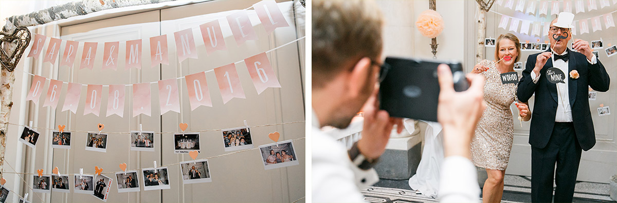 Fotogirlande mit Polaroidfotos bei Hochzeit im Hotel de Rome Berlin - Hotel de Rome Berlin Hochzeitsfotograf © www.hochzeitslicht.de