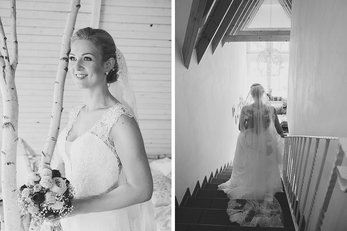 Braut nach dem Ankleiden für Hochzeit in Seelodge Kremmen - Seelodge Kremmen Hochzeitsfotograf © www.hochzeitslicht.de