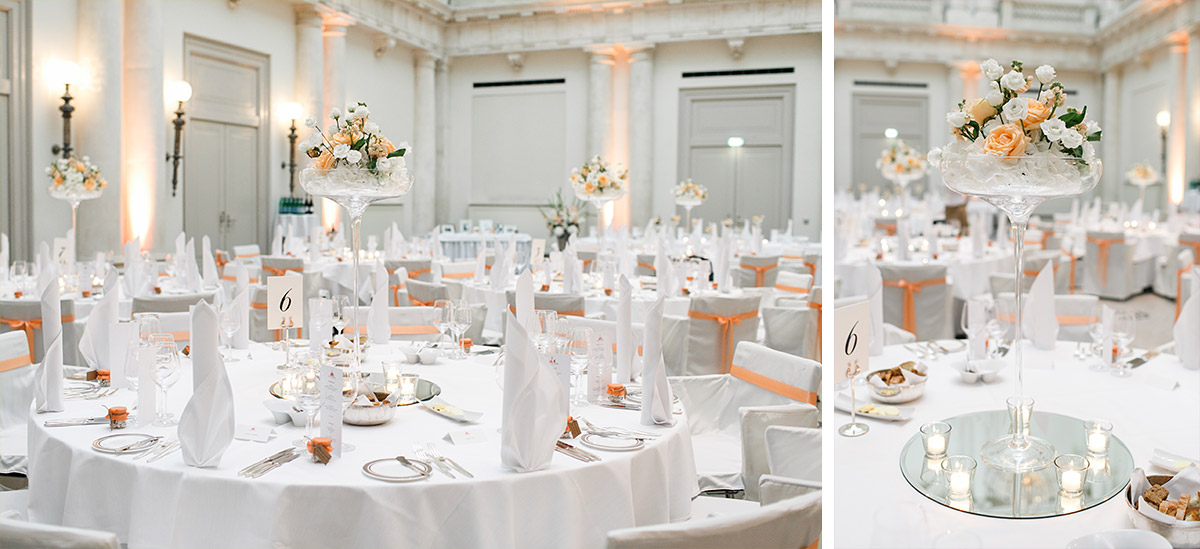 Hochzeitsfotos von geschmücktem Ballsaal bei Hochzeitsfeier im Hotel de Rome Berlin - Hotel de Rome Berlin Hochzeitsfotograf © www.hochzeitslicht.de