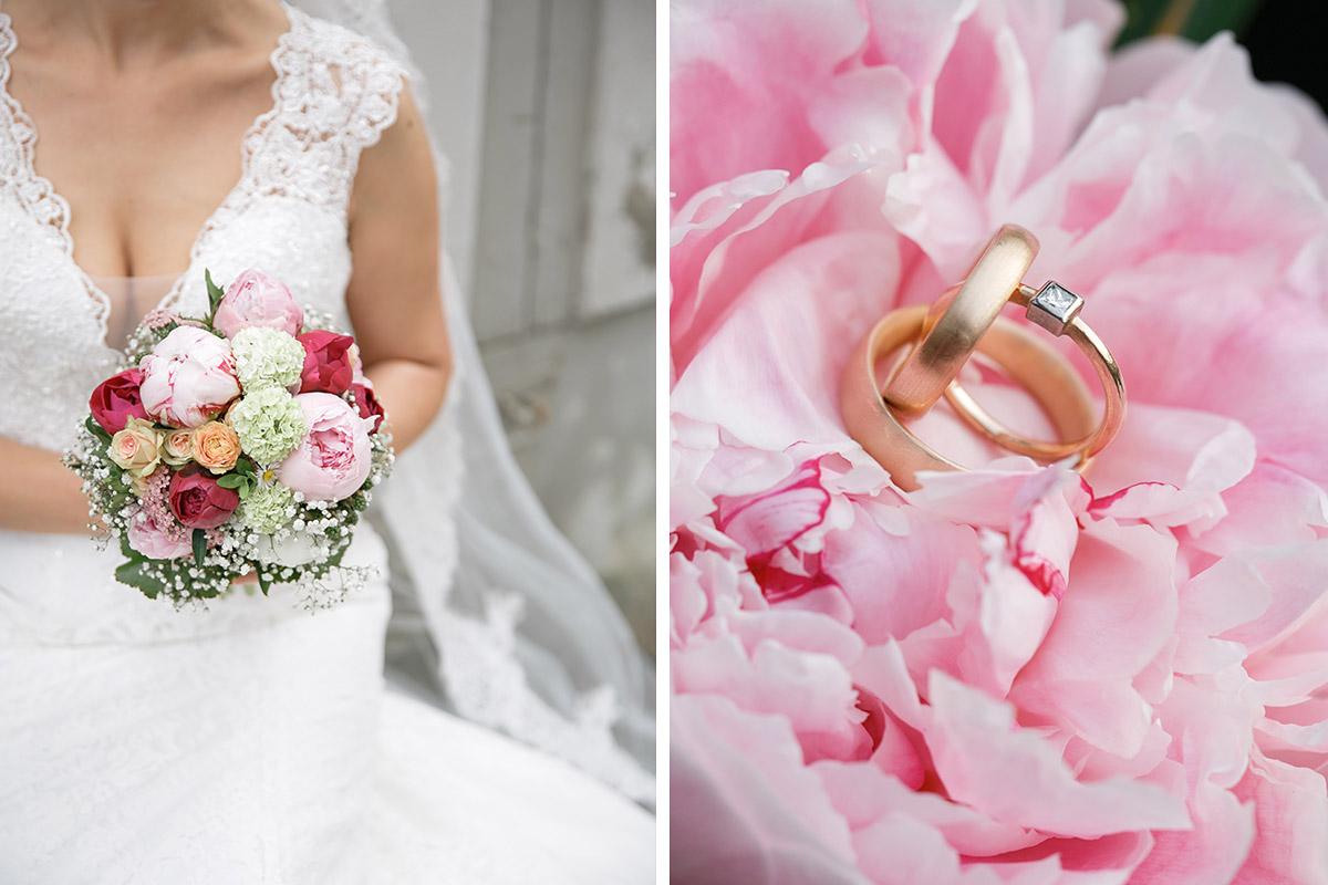 Hochzeitsfoto von Eheringen und Braut mit Brautstrauß aus Pfingstrosen bei Seeldoge Kremmen Hochzeit - Seelodge Kremmen Hochzeitsfotograf © www.hochzeitslicht.de