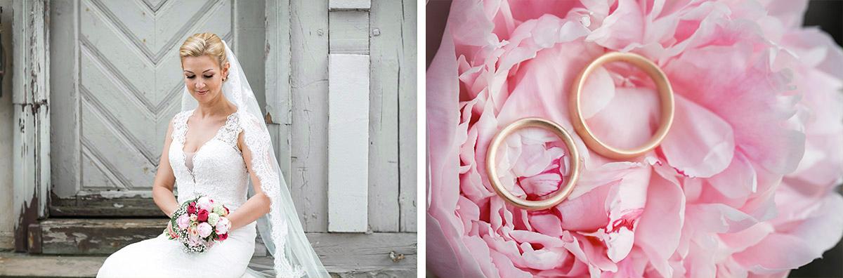 romantische Hochzeitsfotografien von Braut mit Brautstrauß aus Pfingstrosen und Eheringen auf rosa Pfingstrosen - Seelodge Kremmen Hochzeitsfotograf © www.hochzeitslicht.de