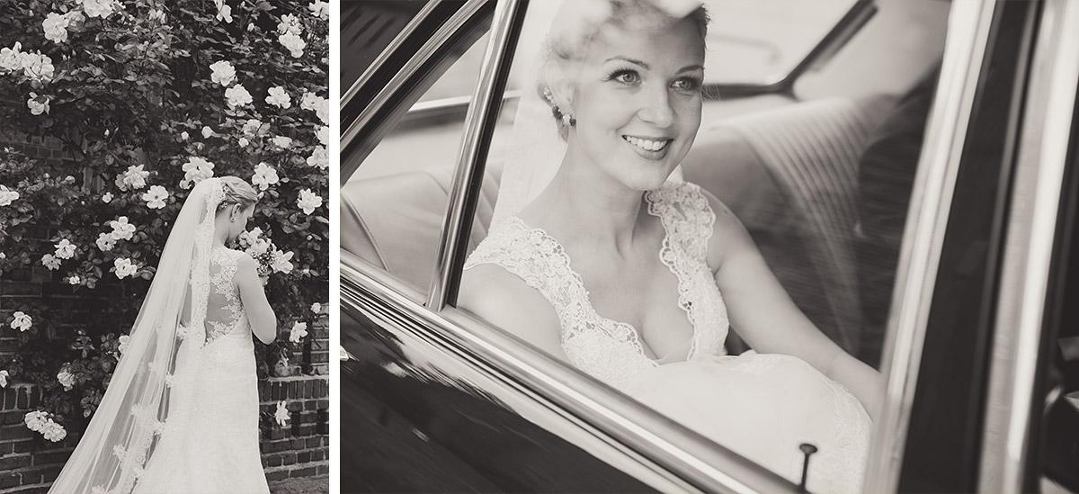 Hochzeitsfotos von Braut in Hochzeits-Oldtimer bei Maihochzeit in Seelodge Kremmen - Seelodge Kremmen Hochzeitsfotograf © www.hochzeitslicht.de