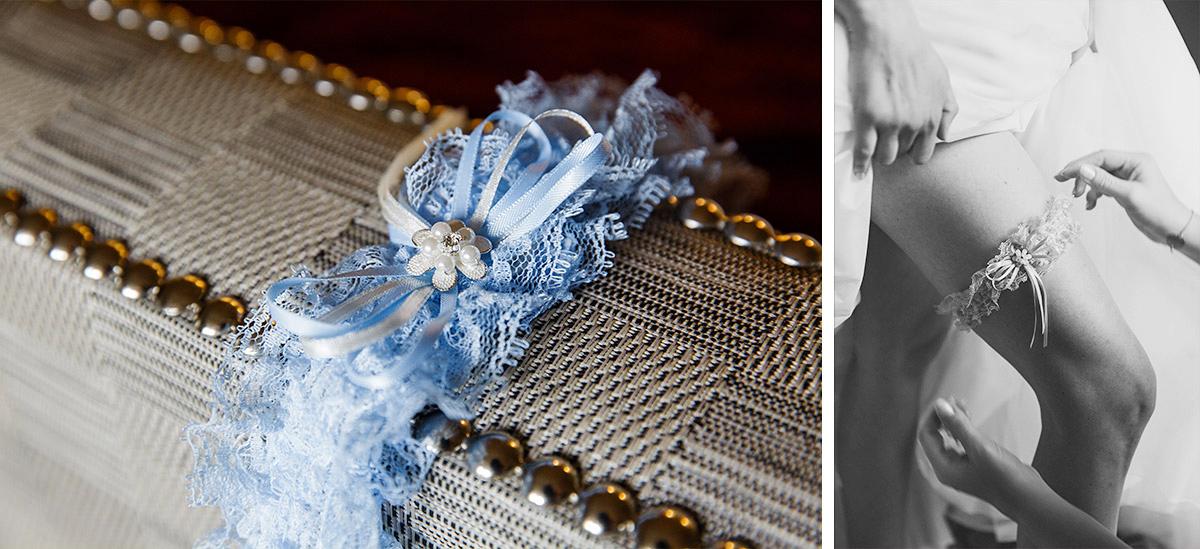 Detailfoto vom blauen Strumpfband der Braut bei Hochzeit in Hotel de Rome Berlin - Hotel de Rome Berlin Hochzeitsfotograf © www.hochzeitslicht.de