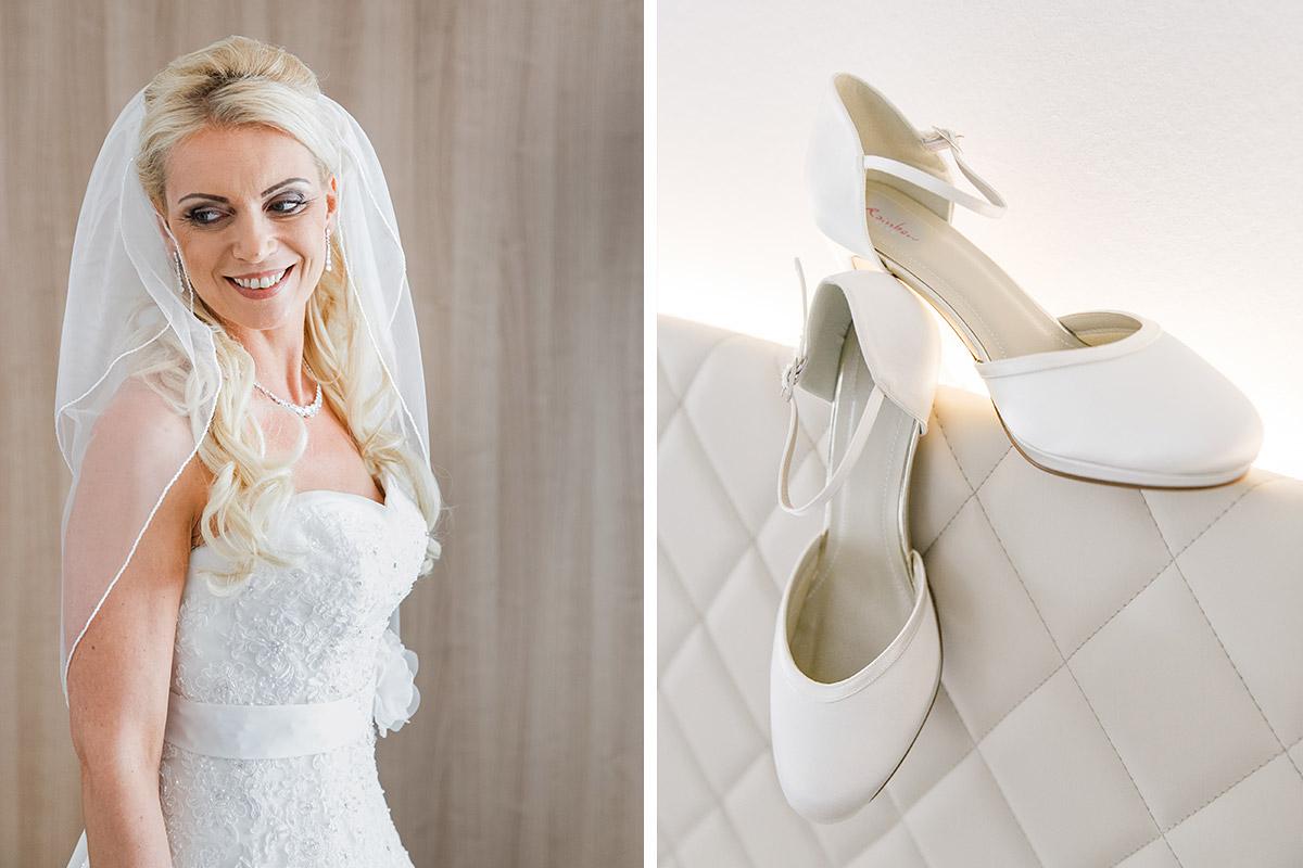 Hochzeitsfoto der Braut und Detailfoto der Brautschuhe bei Vorbereitungen auf Rügen-Hochzeit - Ostsee Hochzeitsfotograf © www.hochzeitslicht.de
