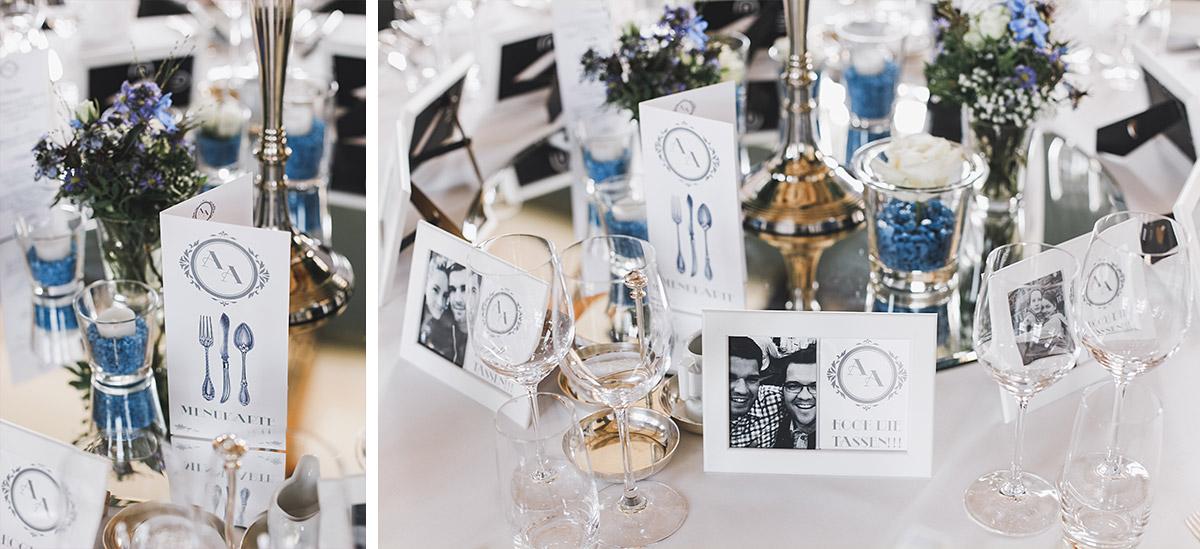 Detailfoto von eleganter Tischdekoration in weiß und blau bei Hochzeitsfeier auf Schloss Neuhardenberg - Schloss Neuhardenberg Hochzeitsfotograf © www.hochzeitslicht.de