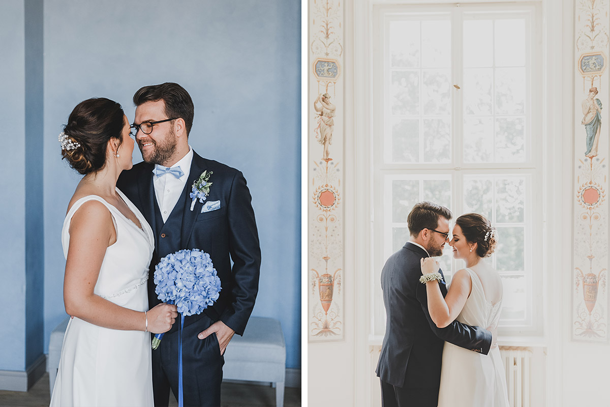 romantische Brautpaarfotos vor Trauung bei klassisch-eleganter Hochzeit auf Schloss Neuhardenberg - Schloss Neuhardenberg Hochzeitsfotograf © www.hochzeitslicht.de