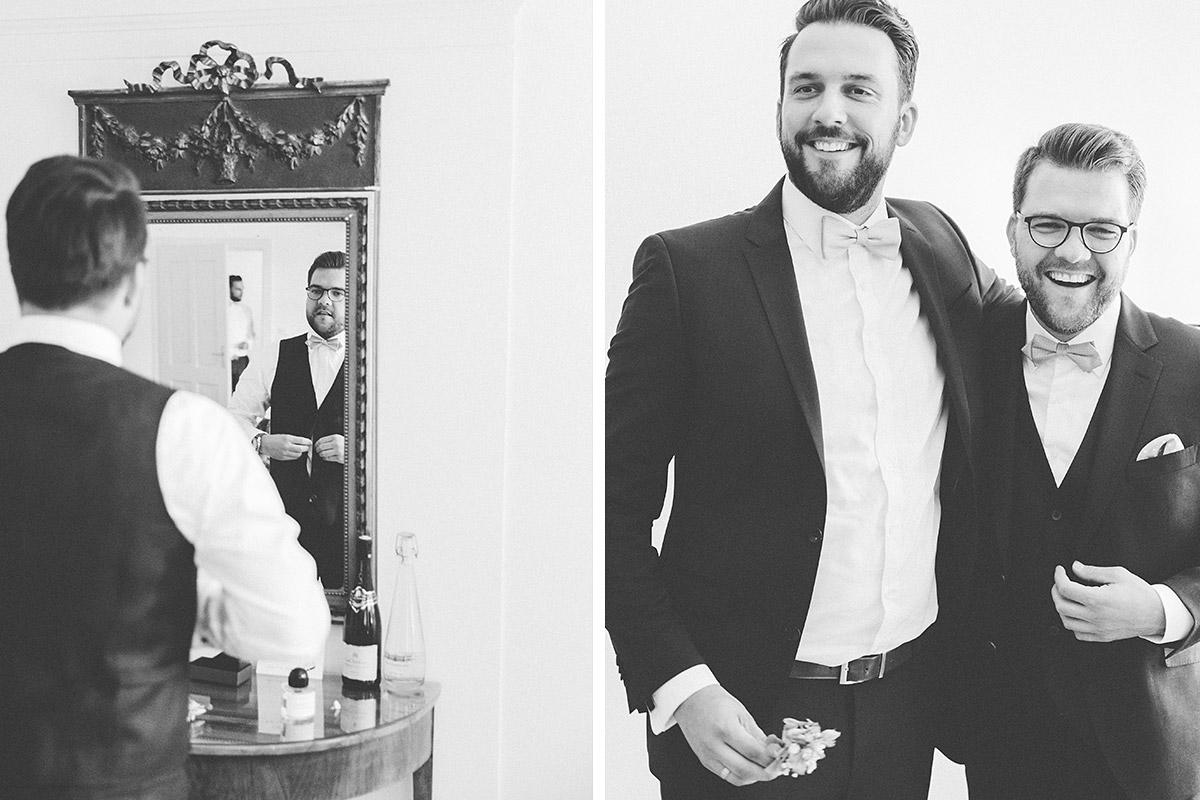 Hochzeitsfotografien von Hochzeitsvorbereitungen des Bräutigams bei Schlosshochzeit auf Schloss Neuhardenberg - Schloss Neuhardenberg Hochzeitsfotograf © www.hochzeitslicht.de