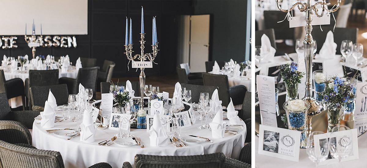 Hochzeitsfotos von stilvoller Tischdekoration bei Hochzeitsfeier auf Schloss Neuhardenberg - Schloss Neuhardenberg Hochzeitsfotograf © www.hochzeitslicht.de