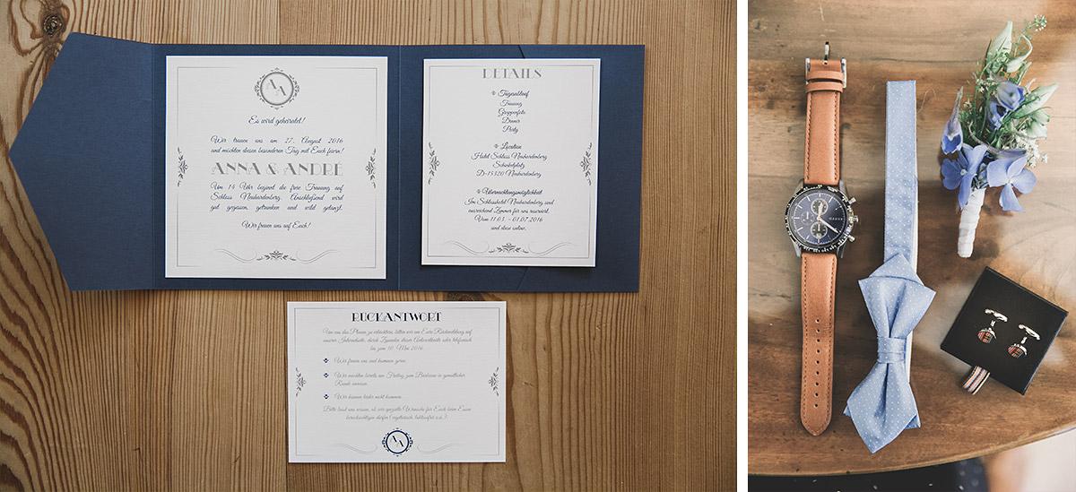 Hochzeitsfotos von Hochzeits-Papeterie und Accessoires des Bräutigams bei Hochzeit auf Schloss Neuhardenberg - Schloss Neuhardenberg Hochzeitsfotograf © www.hochzeitslicht.de