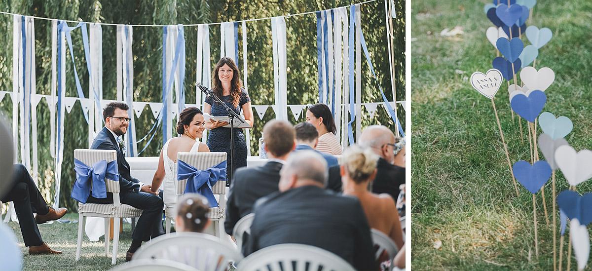 Hochzeitsfotos von Trauungszeremonie im Park und Detailaufnahme der Hochzeitsdekoration bei Schloss Neuhardenberg Hochzeit - Schloss Neuhardenberg Hochzeitsfotograf © www.hochzeitslicht.de