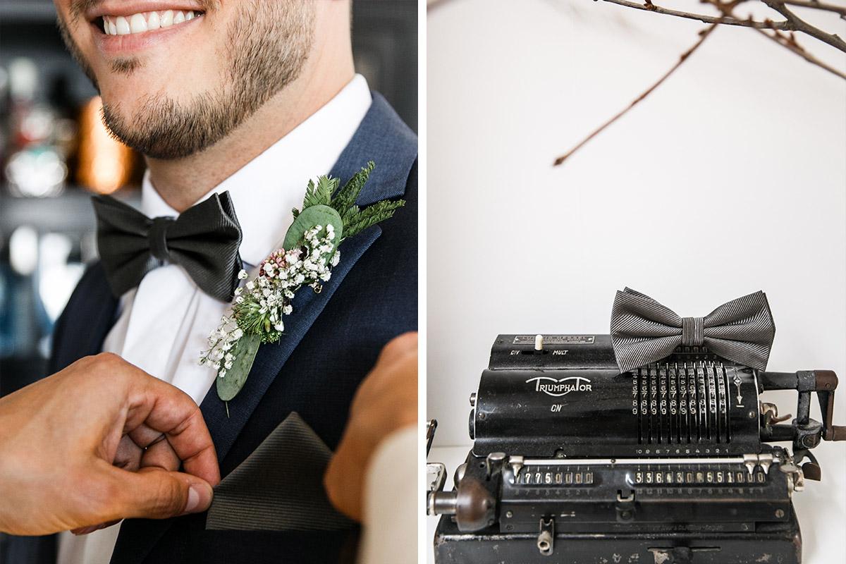 Hochzeitsreportagefotos vom Ankleiden des Bräutigams und Detailfoto von Vintage-Schreibmaschine bei Berlin-Friedrichshain-Hochzeit - Old Smithy's Dizzle Hochzeitsfotograf Berlin © www.hochzeitslicht.de