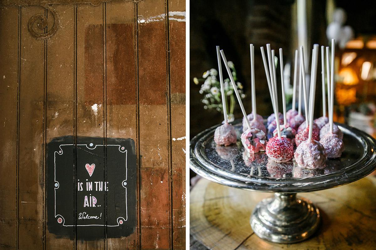 Detailaufnahmen von Hochzeitsdekoration und Cake Pops bei entspannter Berlinhochzeit - Old Smithy's Dizzle Hochzeitsfotograf Berlin © www.hochzeitslicht.de