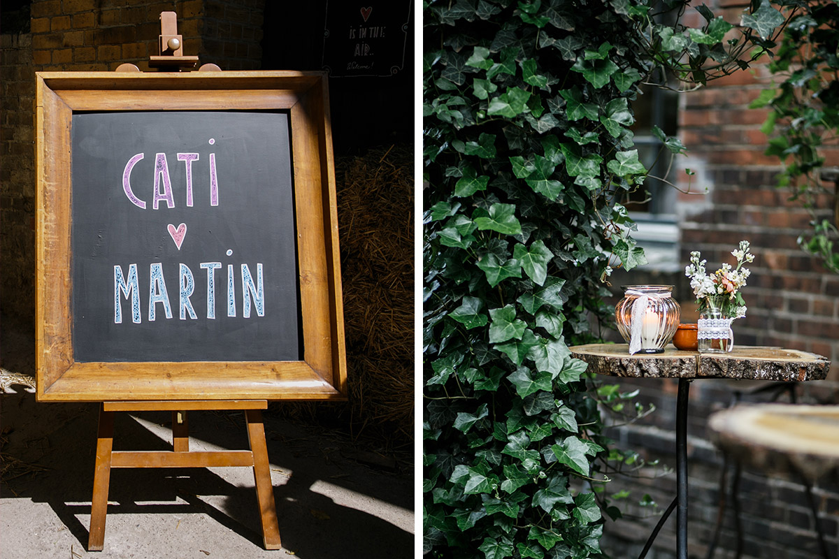Hochzeitsreportagefotos von Tafel und Tischdekoration bei Vintage-Hochzeit Berlin-Friedrichshain - Old Smithy's Dizzle Hochzeitsfotograf Berlin © www.hochzeitslicht.de