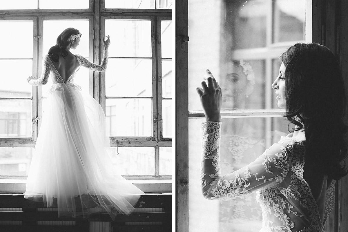 künstlerische schwarz-weiß Fotos der Braut - Editorial Shooting Liebesbrief zur Hochzeit Berlin © www.hochzeitslicht.de