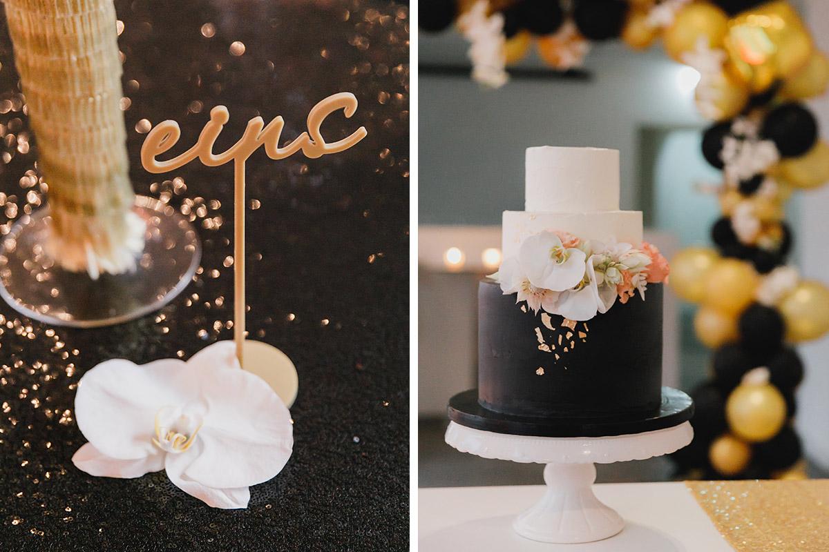 Detailfoto Der Stylischer Tischdekoration Und Der Hochzeitstorte In