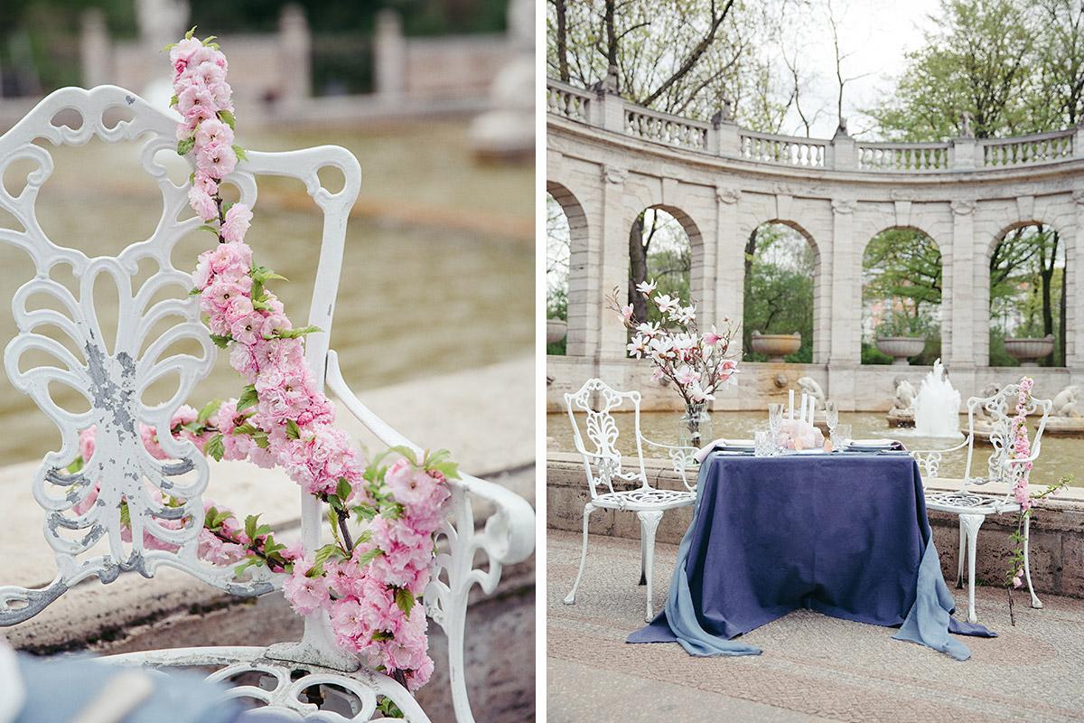Hochzeitsfoto von frühlingshafter Tischdekoration mit Kirschblüten und Magnolien - Editorial Shooting Magnolie Frühlingshochzeit Berlin © www.hochzeitslicht.de