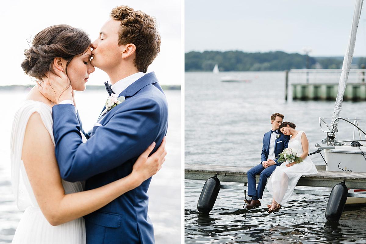stimmungsvolle Brautpaarfotos am Ufer des Wannsees Berlin - Gästehaus Villa Blumenfisch am Großen Wannsee Berlin Hochzeitsfotograf © www.hochzeitslicht.de
