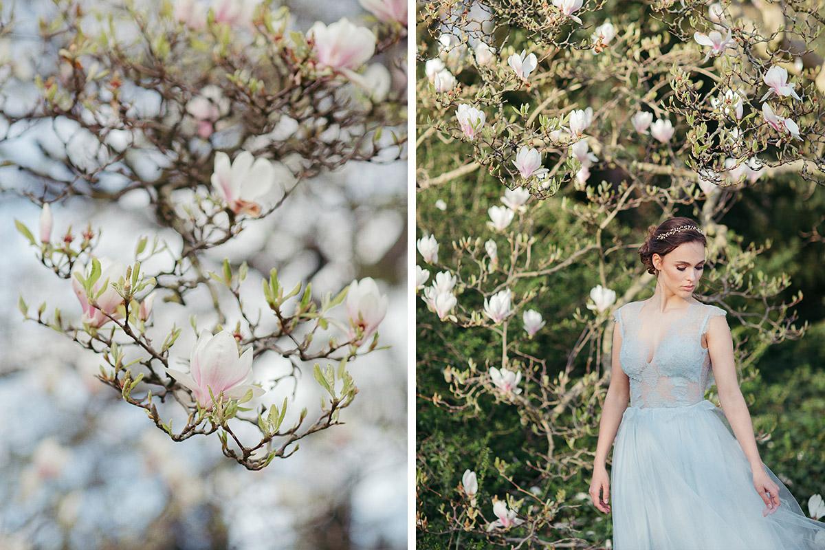 naturverbundene Hochzeitsfotografie im Frühling unter blühenden Magnolien - Editorial Shooting Magnolie Frühlingshochzeit Berlin © www.hochzeitslicht.de