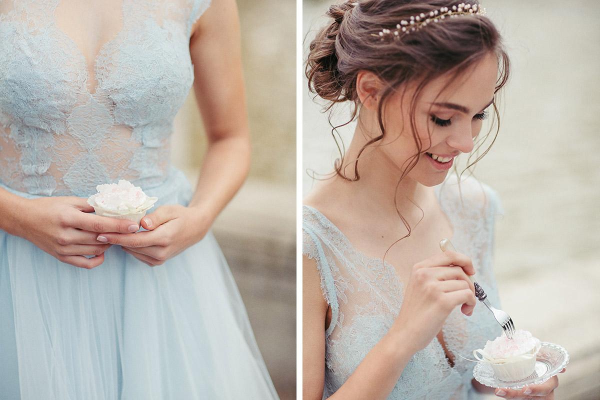 Hochzeitsfotografien der Braut mit Geode Cupcakes - Editorial Shooting Magnolie Frühlingshochzeit Berlin © www.hochzeitslicht.de