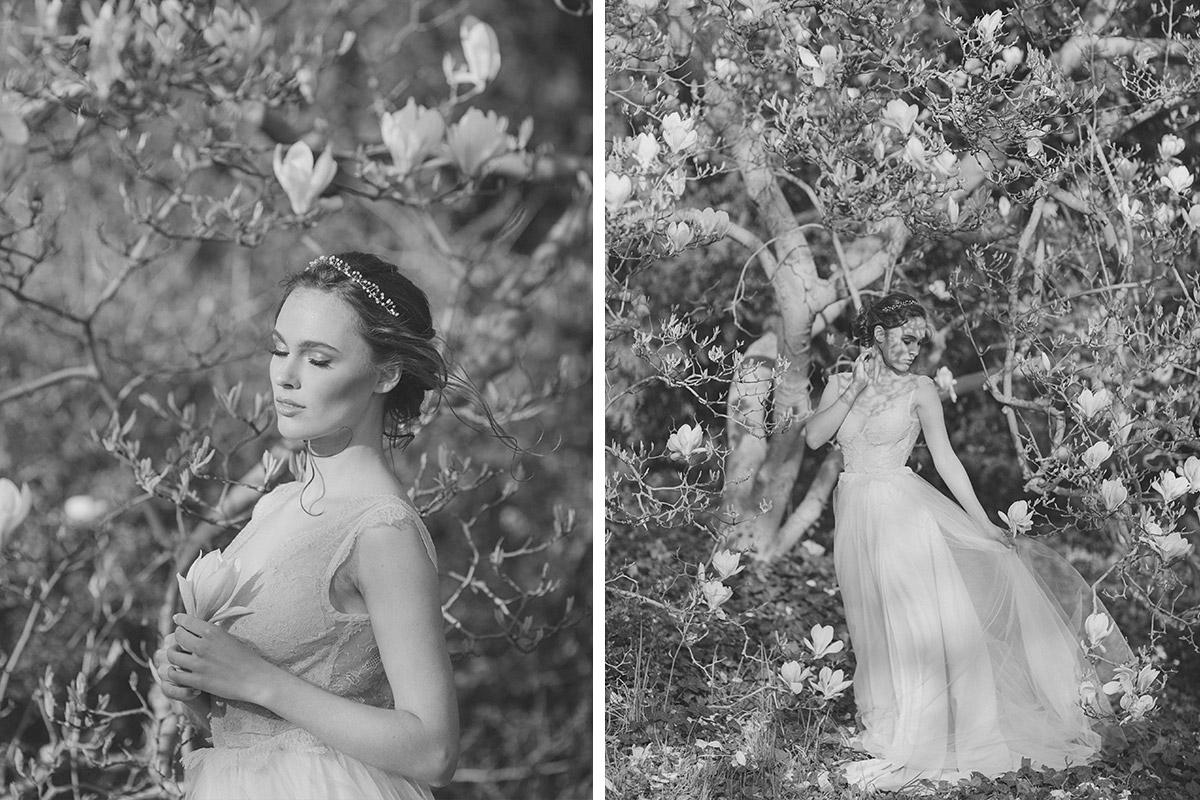 verträumte schwarz-weiß Hochzeitsfotos von Braut unter blühendem Magnolienbaum - Editorial Shooting Magnolie Frühlingshochzeit Berlin © www.hochzeitslicht.de