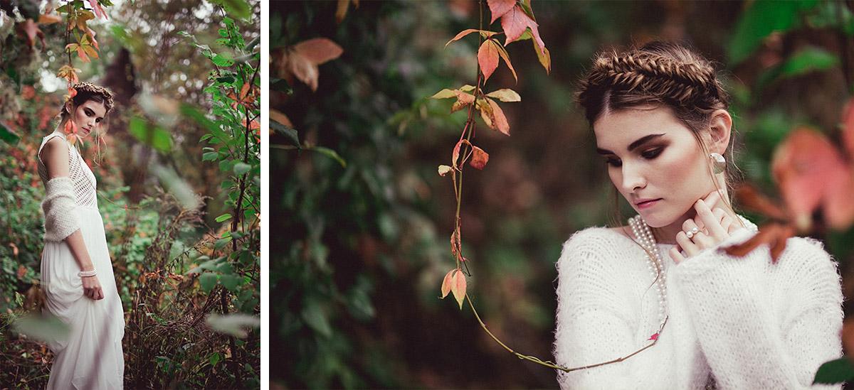 Fotos von Braut in Rock aus Seide und Oberteil aus Neopren mit Strickbolero bei Editorial Shoot - Herbst Hochzeit Berlin Hochzeitsfotograf © www.hochzeitslicht.de