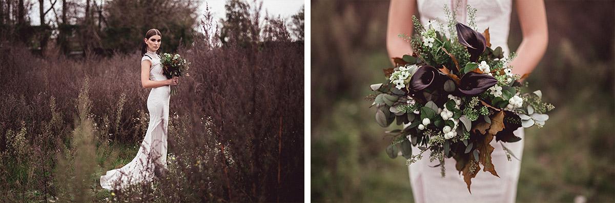herbstlicher Brautstrauß aus dunkelroten Blumen, weißen Blumen und Herbstlaub - Herbst Hochzeit Berlin Hochzeitsfotograf © www.hochzeitslicht.de