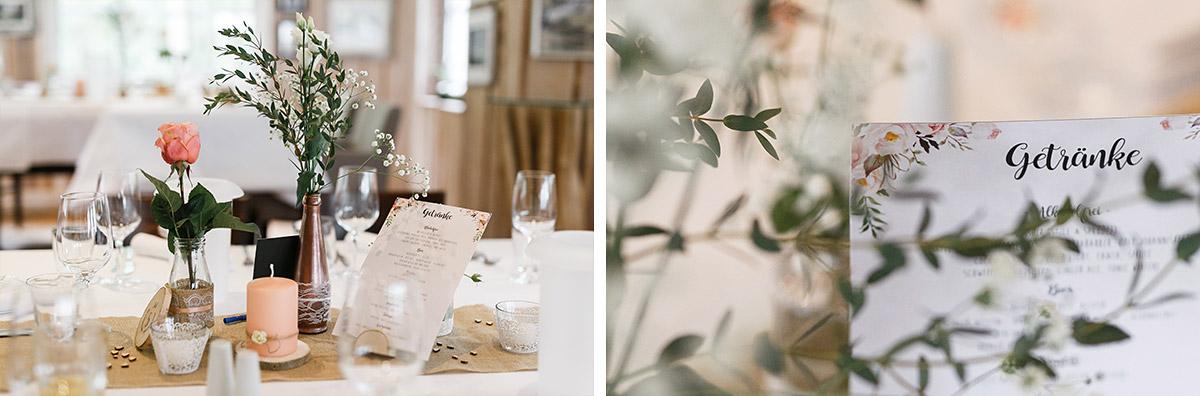 Detailfoto natürlich-elegante Tischdekoration in Pastelltönen - Seelodge Kremmen Hochzeitsfotograf © www.hochzeitslicht.de