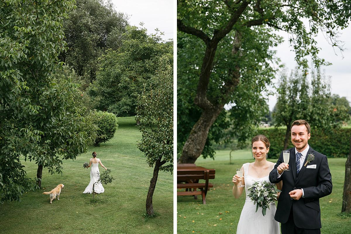 Hochzeitsfoto von Braut in Garten und von Brautpaar bei Sektempfang - Landhaus Garzau Märkische Schweiz Hochzeitsfotograf © www.hochzeitslicht.de