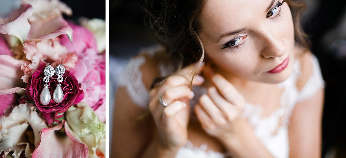 Braut beim Anlegen der Brautohrringe - Berlin Hochzeitsfotograf © www.hochzeitslicht.de