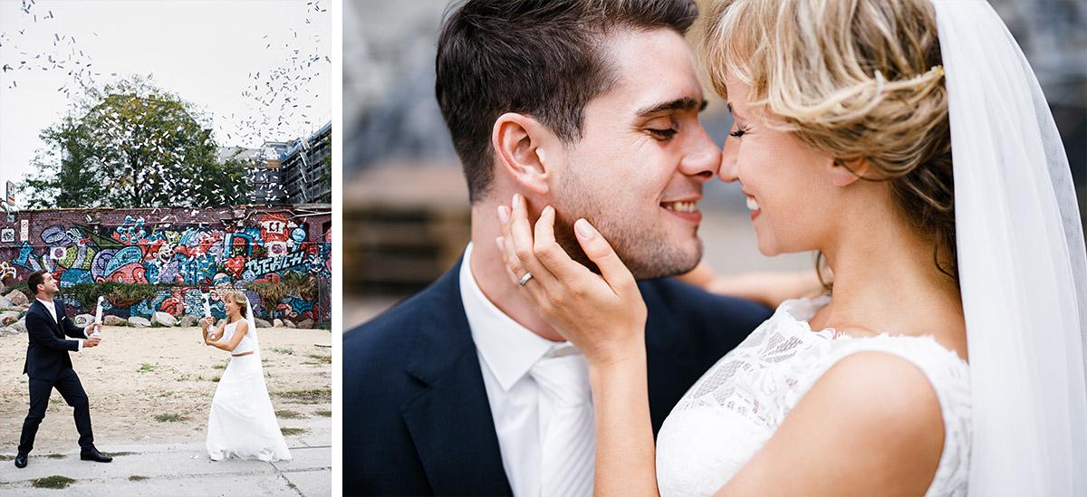 urbane Brautpaarfotos mit Konfettikanone - Berlin Friedrichshain Hochzeitsfotograf © www.hochzeitslicht.de