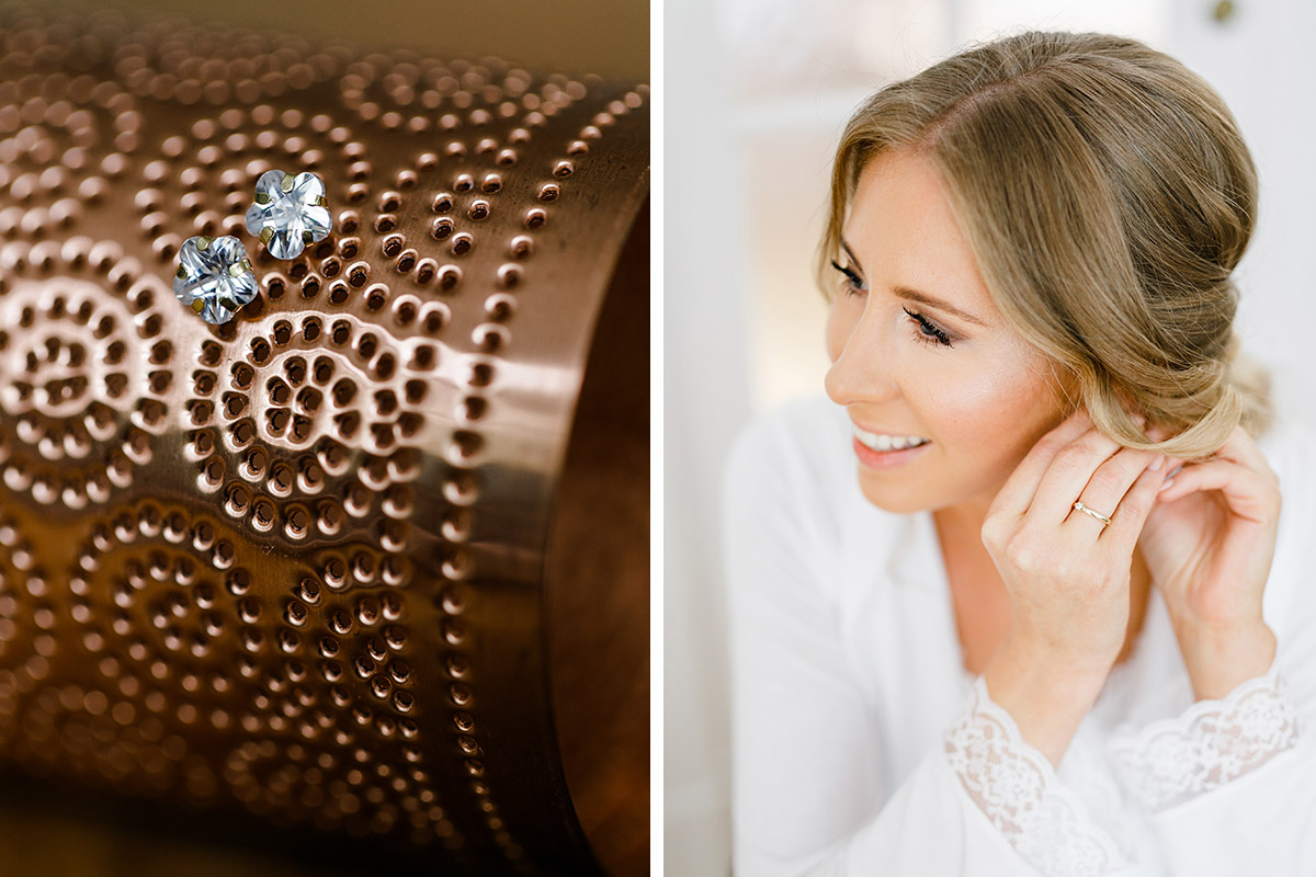 Braut beim Getting Ready und Detailfoto Ohrringe Hochzeit - Berlin Hochzeitsfotograf © www.hochzeitslicht.de