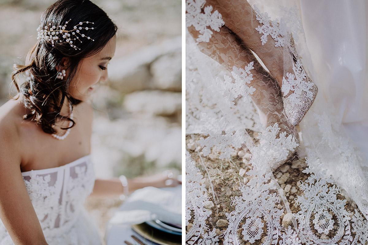 Detailfoto Spitze und Brautschuh und Hochzeitsfoto Braut bei Elopement Shooting - Mallorca Hochzeitsfotograf © www.hochzeitslicht.de