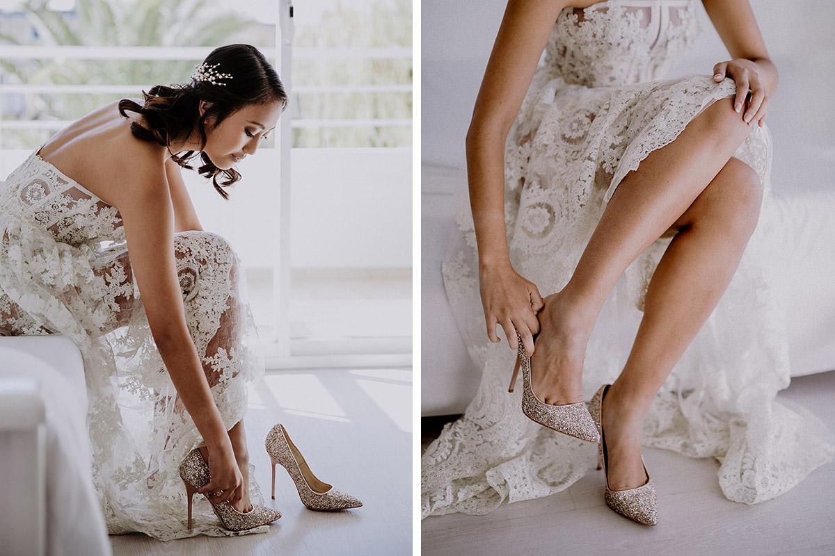Ankleiden der Braut bei Elopement Hochzeit - Mallorca Hochzeitsfotograf © www.hochzeitslicht.de