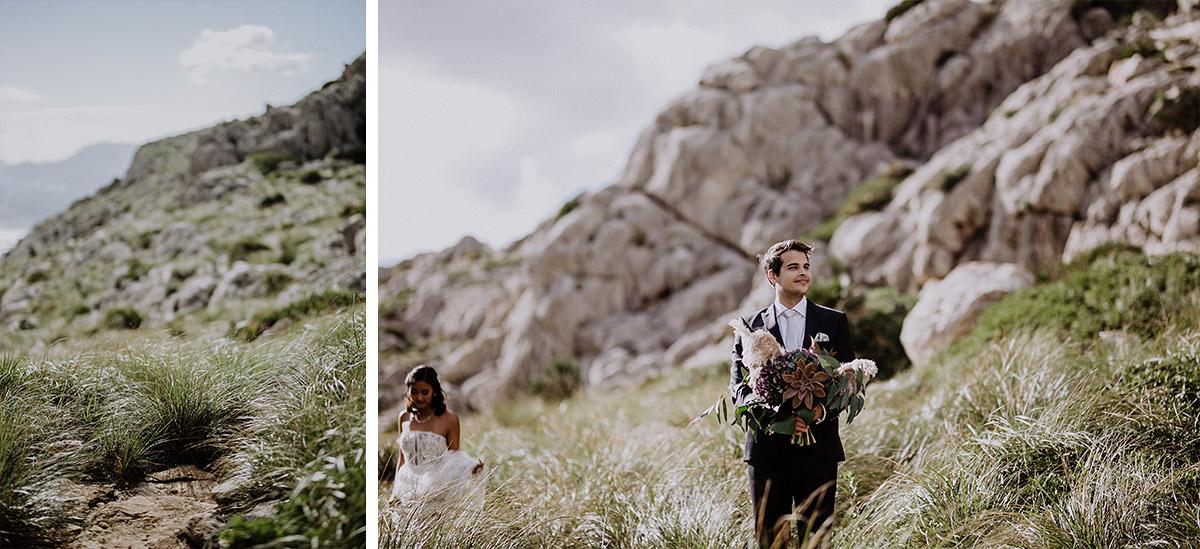 Bräutigam wartet auf Braut bei intimer Hochzeit zu zweit - Mallorca Hochzeitsfotograf © www.hochzeitslicht.de