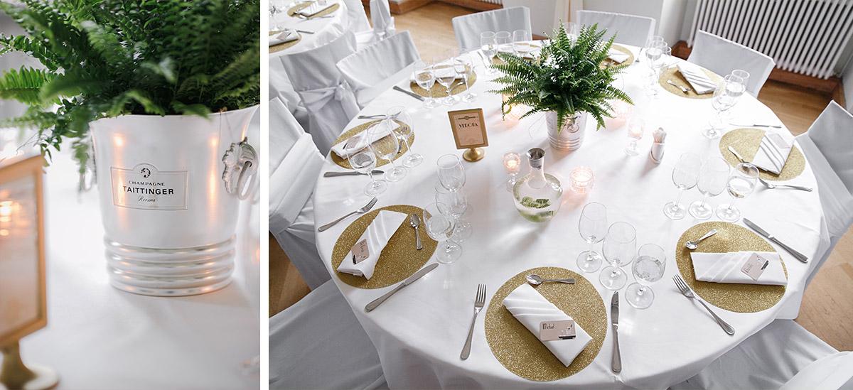 elegante schlichte Tischdekoration Zwanziger Jahre Hochzeit - Schloss Kröchlendorff Hochzeitsfotograf © www.hochzeitslicht.de