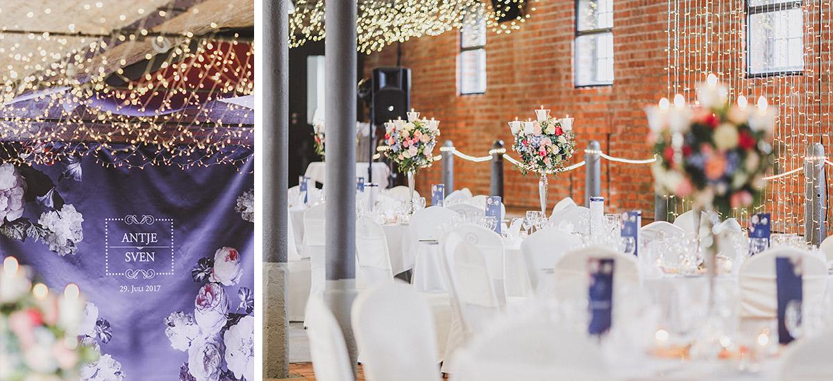Hochzeitsfoto von geschmücktem Festsaal bei eleganter Sommerhochzeit - Landgut Stober Hochzeitsfotograf © www.hochzeitslicht.de