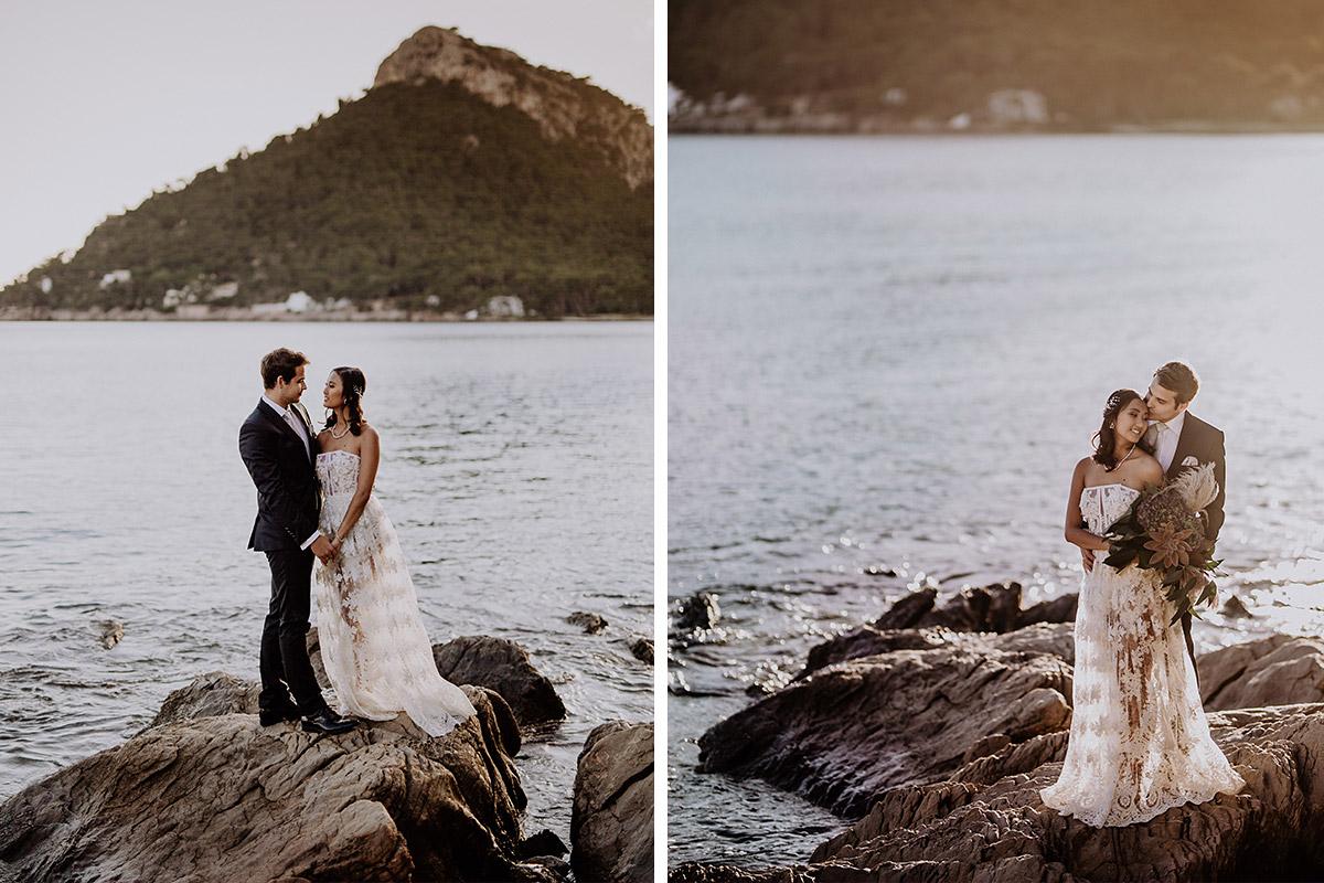 intime Brautpaarfotos bei Sonnenuntergang - Mallorca Hochzeitsfotograf © www.hochzeitslicht.de